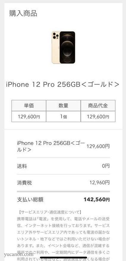 iPhone12Pro購入画面